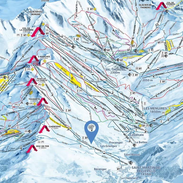 See the map of the ski slopes